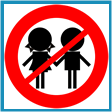 "Graphic representation of black silhouette of two children holding hands with the universal ""NO"" sign on top."
