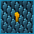 Graphical representation of a crowd of people colored blue with one individual in yellow with his hand raised.