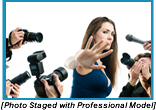Woman with her hand up shielding herself from reporter's cameras and microphones. (Staged with professional models).